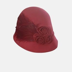 Cynthia Rowley Burgundy Wool Bucket Hat